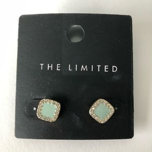 The Limited sage colored square stud earrings